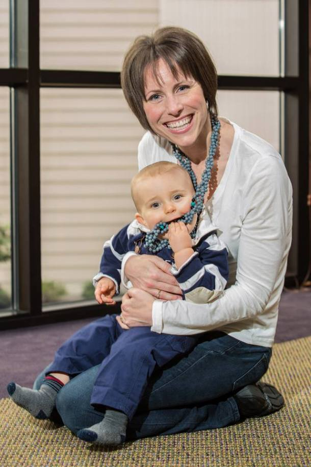 Adrienne with her son Abram.